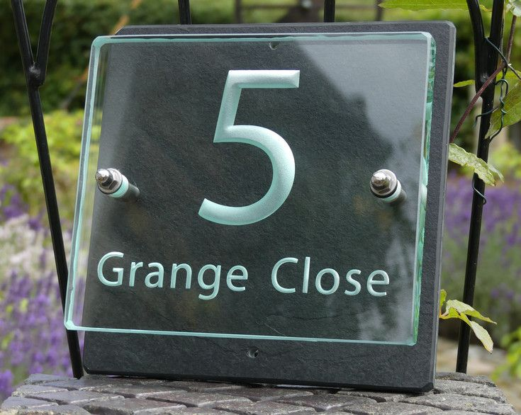 3c4a9b295713 Engraved glass and slate house number sign. | Small House Number ...