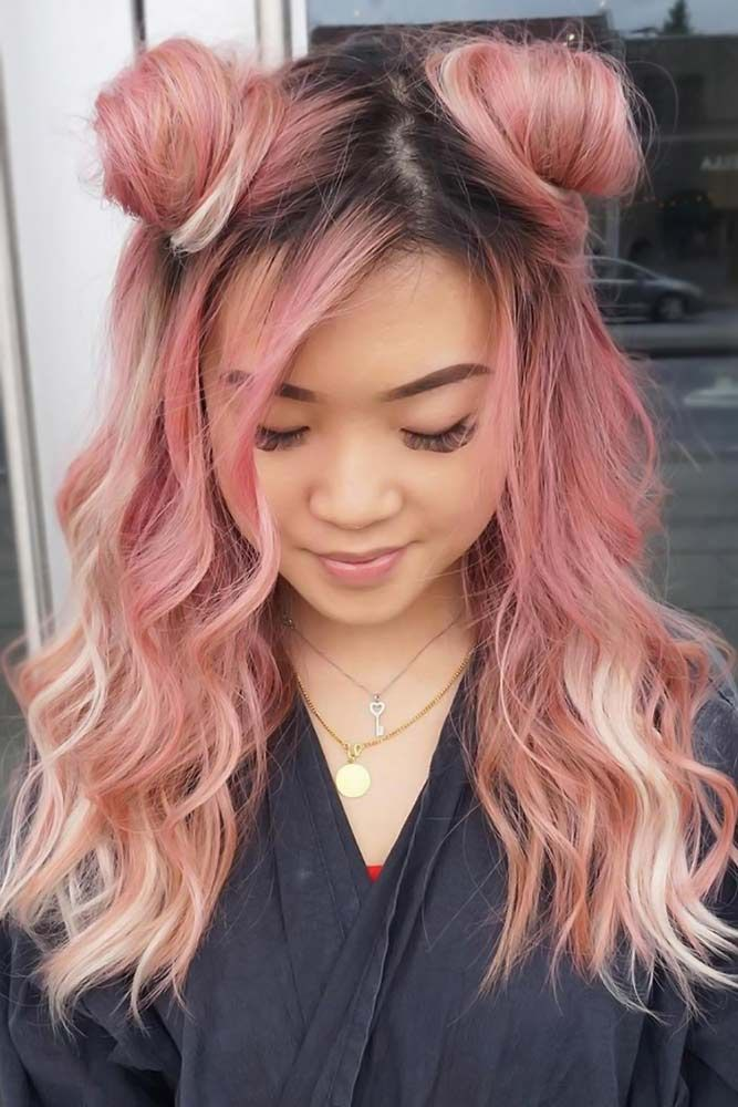 24 Super Cool Party Looks With Hair Buns Lovehairstyles Com Bun Hairstyles Hairdos For Short Hair Two Buns Hairstyle