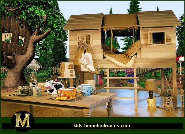 Backyard Camp Out Theme Bedroom Ideas Treehouse Theme Bedrooms   Backyard  Themed Kids Rooms   Cat