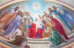 Jerusalén - la escena de Pentecostés Fresco a partir del 20 centavo en el ábside lateral de la catedral ortodoxa rusa de la trini Fotografía de archivo libre de regalías