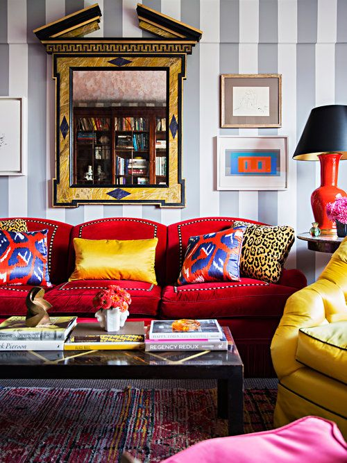 Crazy Color And Bright Living Room With Red, Yellow And Magenta. Grey And  White Striped Wall.