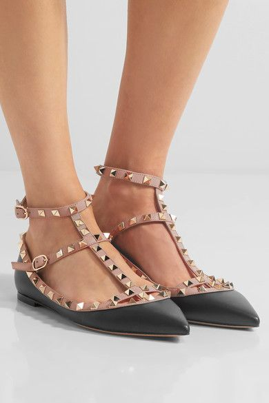 928064cee4a3d VALENTINO fashionable The Rockstud leather point-toe flats ...
