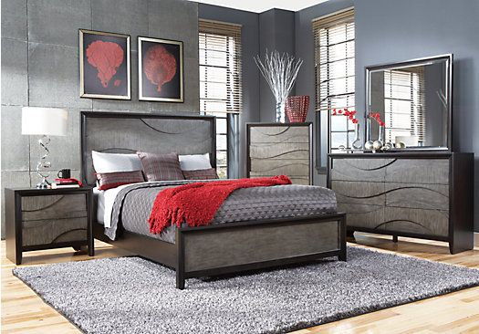Shop for a Modern Wave Ebony 5 Pc Queen Bedroom at Rooms To Go ...