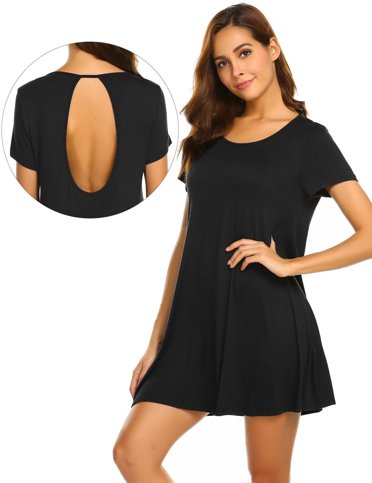 b9ea47c4a9f5 Yayado Women Sexy Backless Plain ALine Dress Crew Neck T Shirt Dress Black  L -- Click image for even more information. (This is an affiliate link).