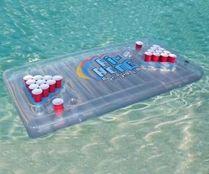 Blow up beer pong table for the pool
