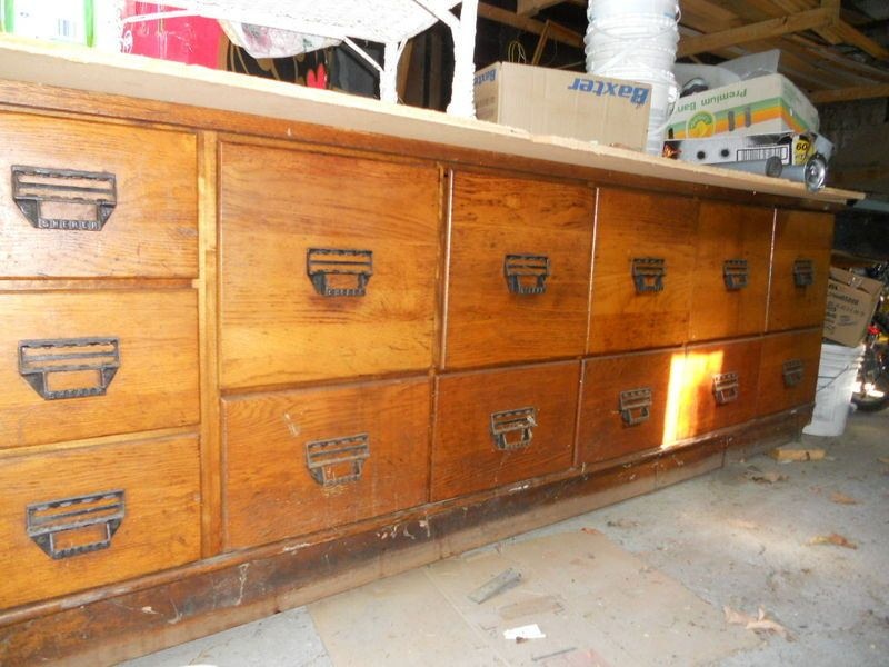 Antique oak seed grain bean counter from a general for Kijiji montreal furniture