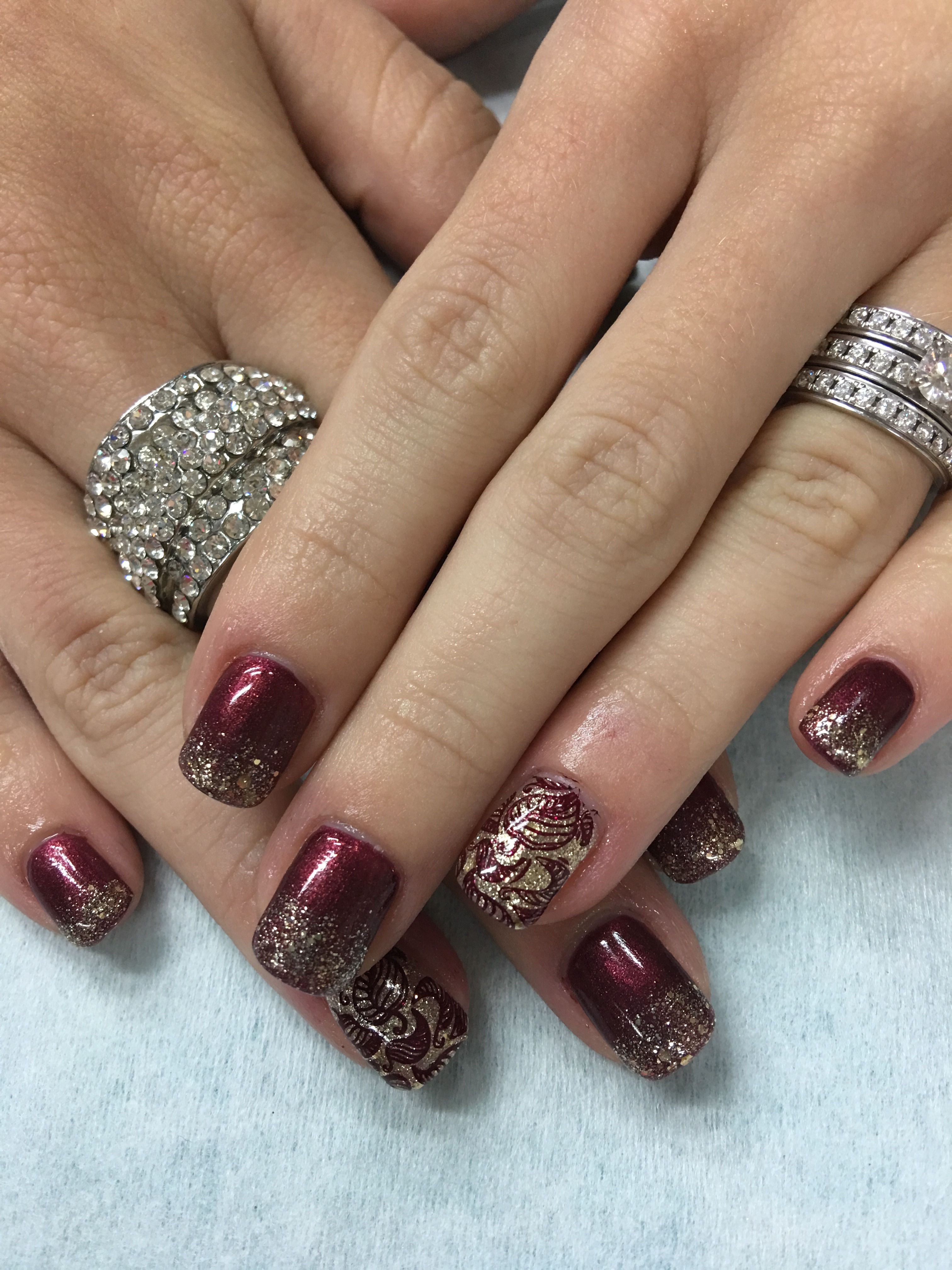 Fall Burgundy Gold Glitter French Gradient Stamped Fall Leaves Gel Nails Gold Nails Nail Stamping Designs Maroon Nails