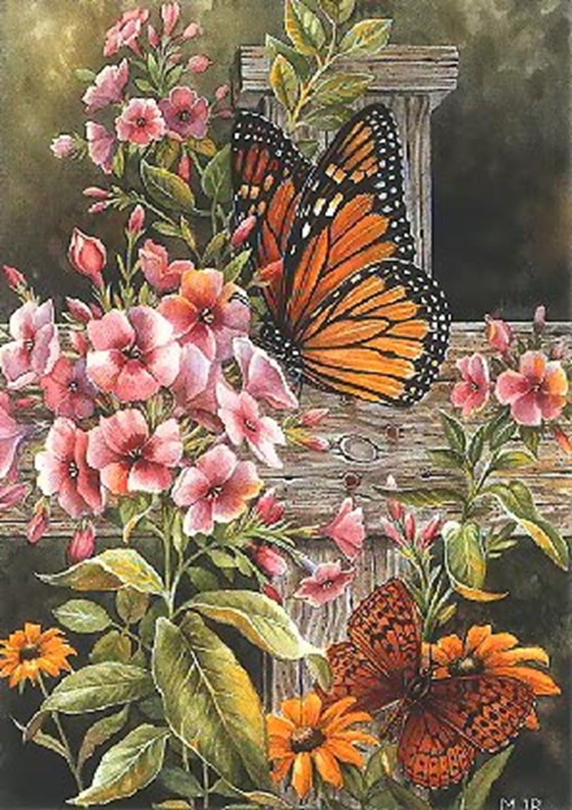 Flowers ~ DIY Counted Cross Stitch Pattern Monarch Butterfly Abstract ~ Insects