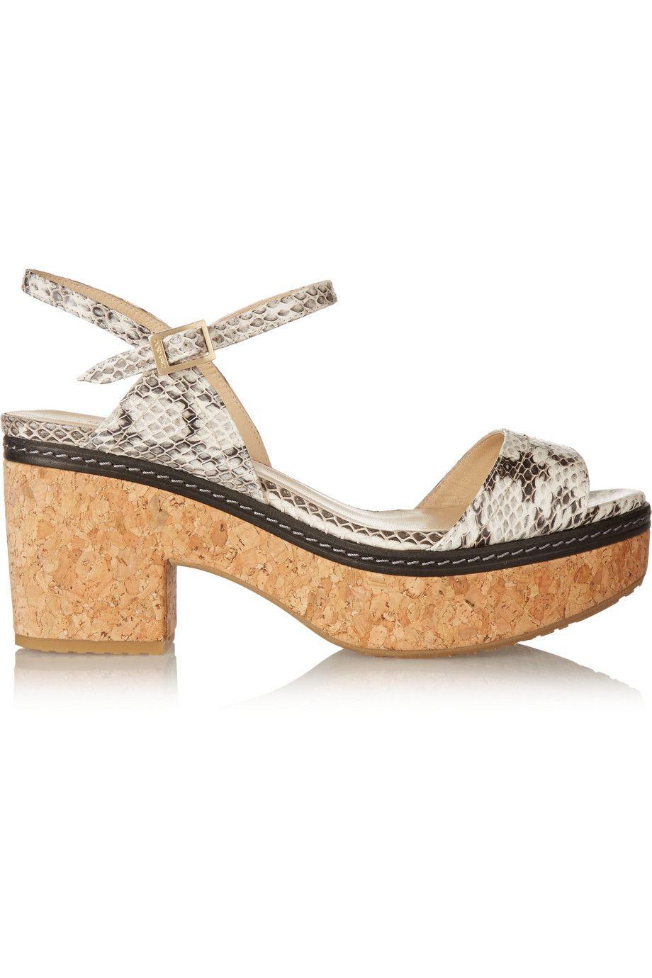 92c9de729430 JIMMY CHOO Naylor Elaphe And Leather Platform Sandals.  jimmychoo  shoes   sandals