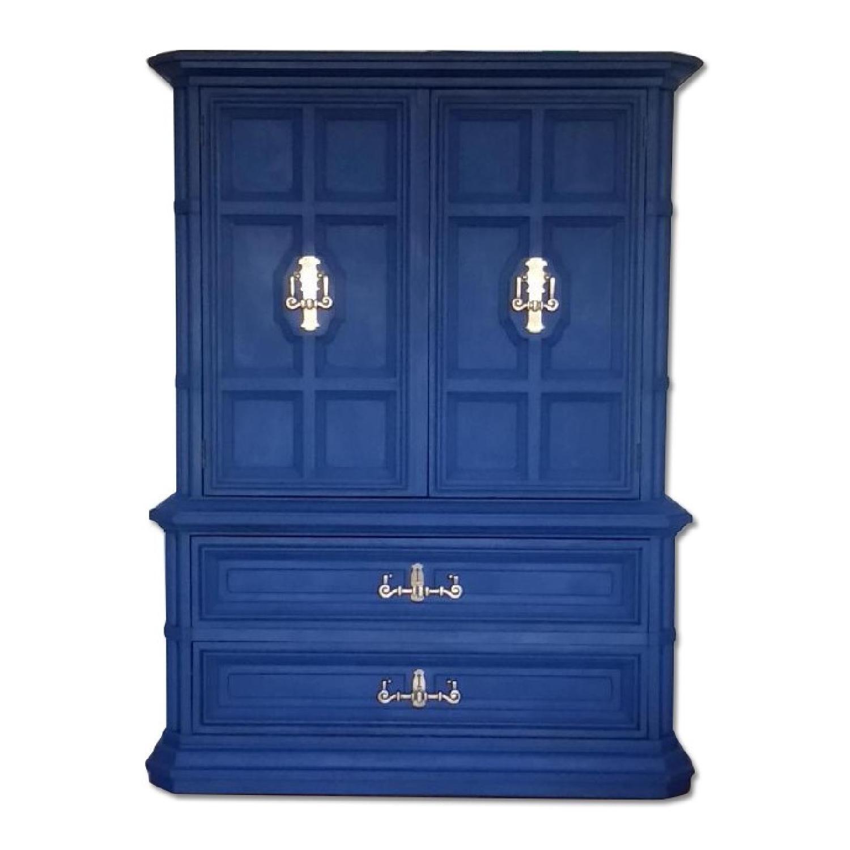 drexel bedroom set%0A Drexel Vintage Blue Storage Armoire  AptDeco