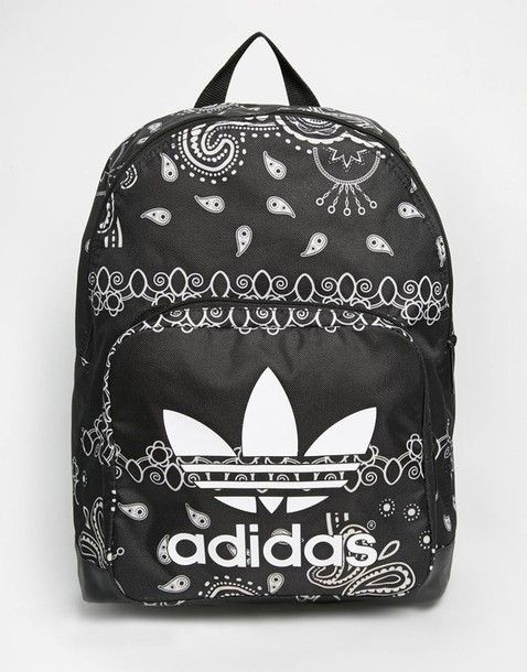 816cae5e33a7 Bag  backpack paisley mandala adidas tumblr back to school school book  bandana print black backpack