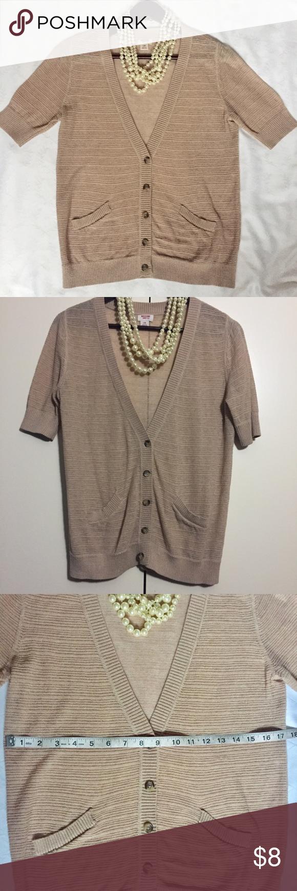 Mossimo tan short sleeve knit cardigan | Short sleeves, Customer ...
