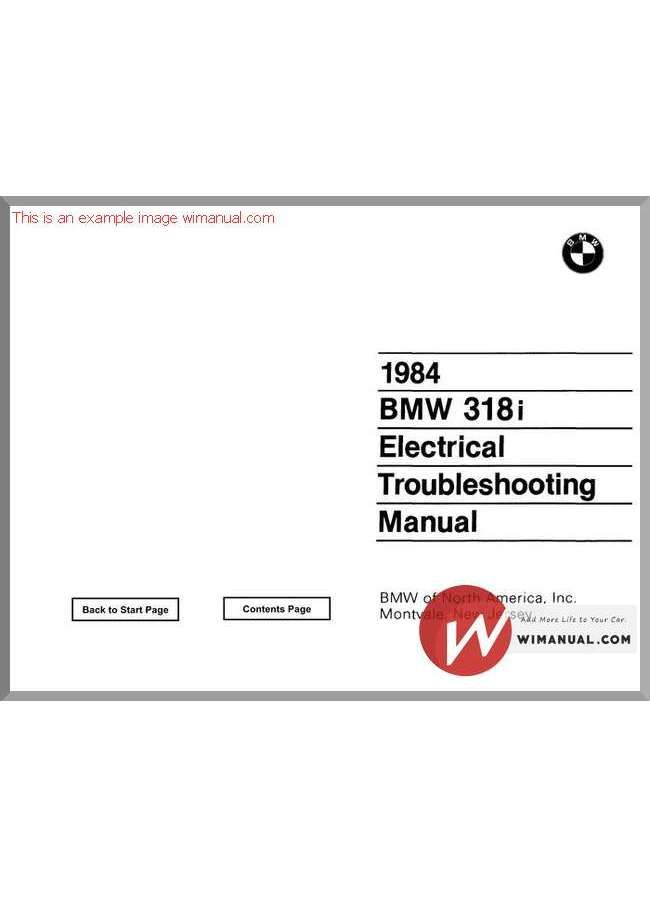 1984 Bmw 318i 325e Electrical Troubleshooting Manual