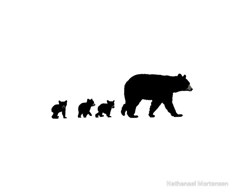 Mama Bear And Her Cubs Art Print By Art Landing Baby Bear