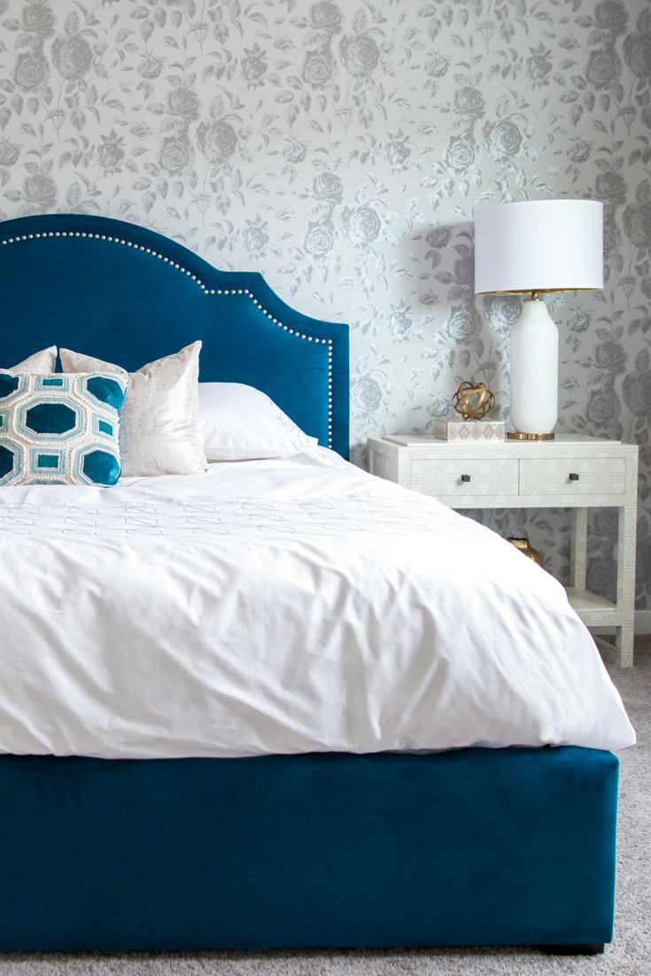 Best Bright Bold Master Bedroom Reveal Wallpaper Headboard 400 x 300