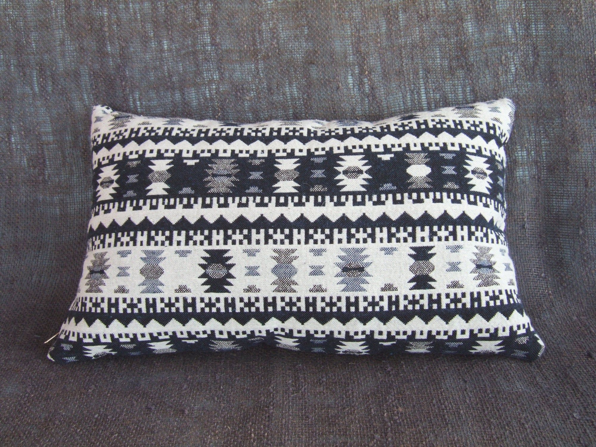 Dark blue & white Boho Chic throw Pillow with Oriental ornament