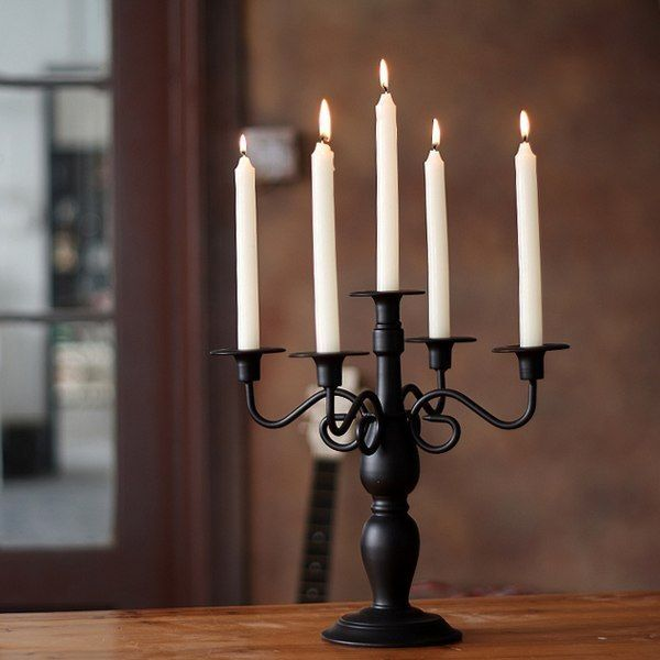 Black Classical Wrought Iron Dining Table Candle Holder Iron