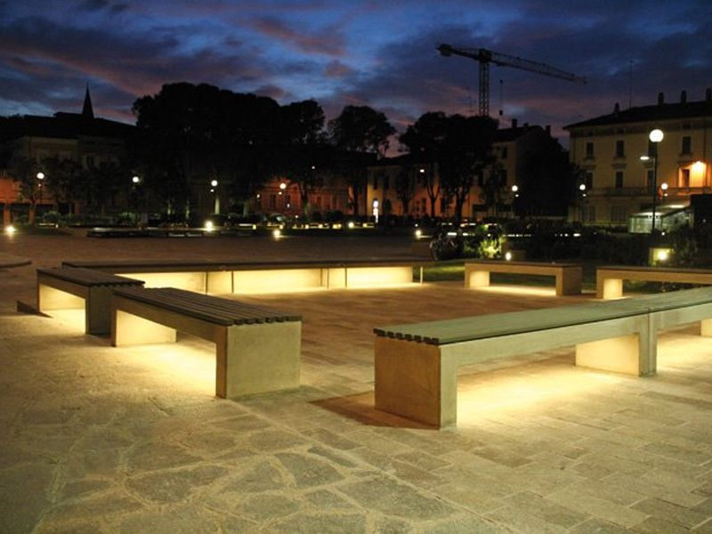 Cement Bench With Integrated Lighting Andromeda Calzolari