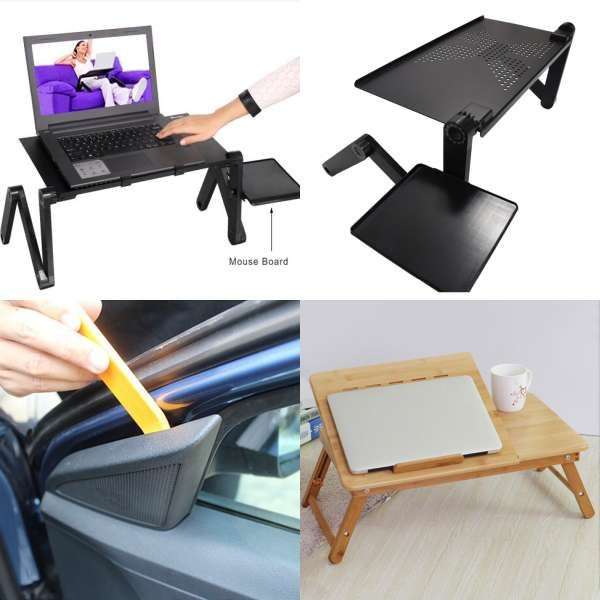 Actionclub Portable Foldable 360 Degree Adjule Laptop Desk Computer Table Stand Tray For Sofa Bed With Mouse Pad