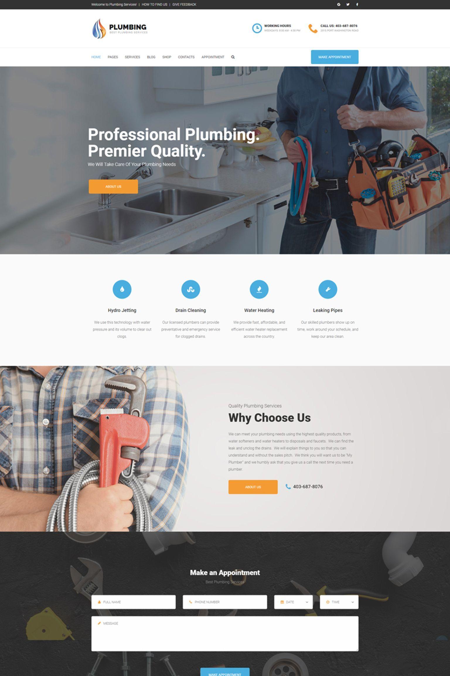 Plumbing Home Maintenance Agency Wordpress Theme Maintenance Home Plumbing Theme Wordpress Plumbing Modern Wordpress Themes Wordpress Theme