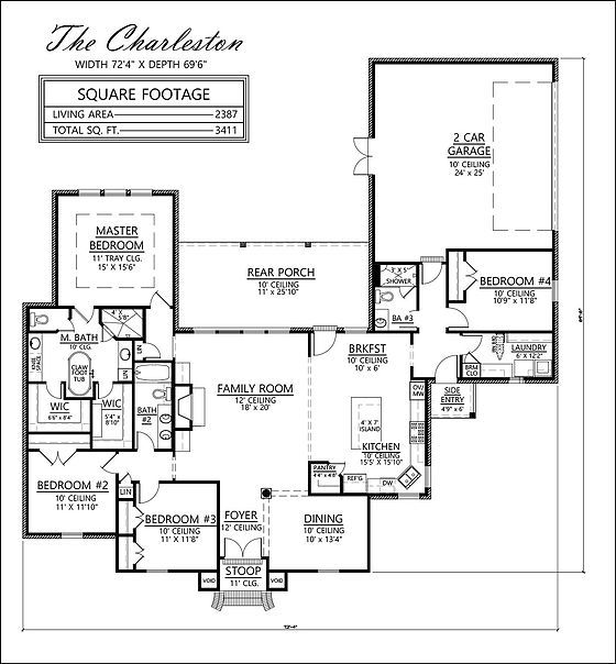 Charleston French Country house plan 4 bedrooms 3 baths open – French Country House Plans Open Floor Plan