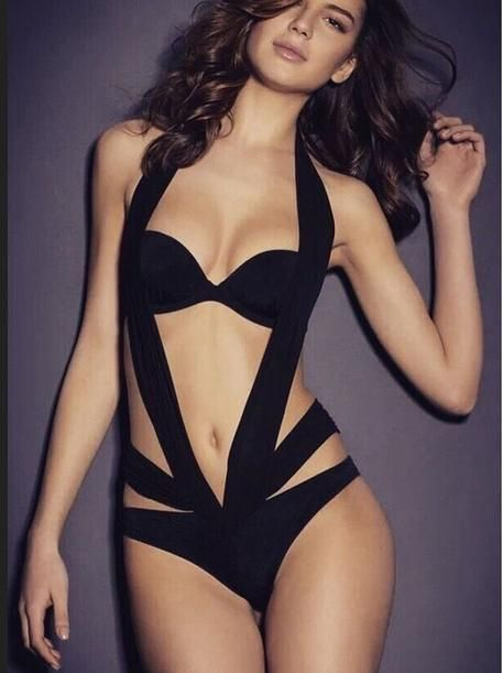 99f9adc97f37b Edgy Black One-Piece Monokini Swimsuit