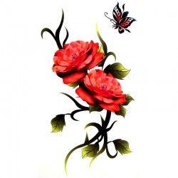 Tatouage Temporaire Rose Et Papillons Old School For Ever