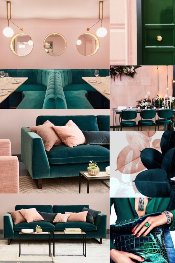 Inspirational Mood Board For An Emerald Green Rose Pink And Gold