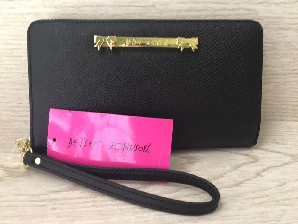 NEW Betsey Johnson Black Wristlet Wallet Zip Around Pink BS100130 Free Shipping