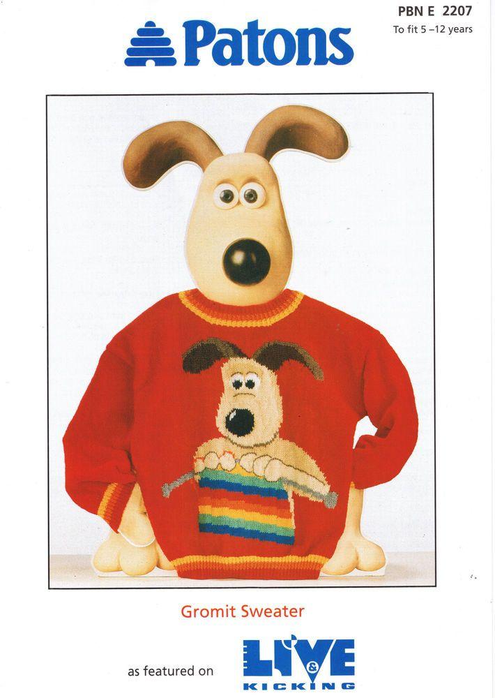 Wallace & Gromit Live & Kicking Gromit Sweater /Jumper DK Pattern ...
