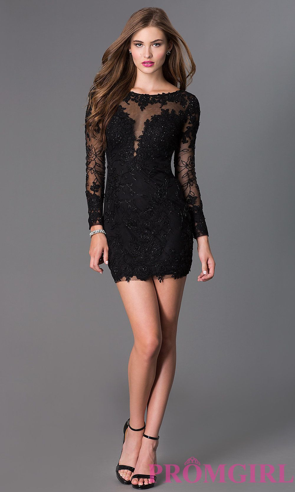 Image Of Long Sleeve Lace Dave And Johnny Short Prom Dress Detail