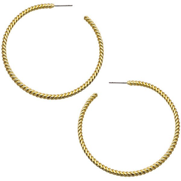 Harrison Morgan Gold Rope Hoop Earrings $70 ❤ liked on Polyvore
