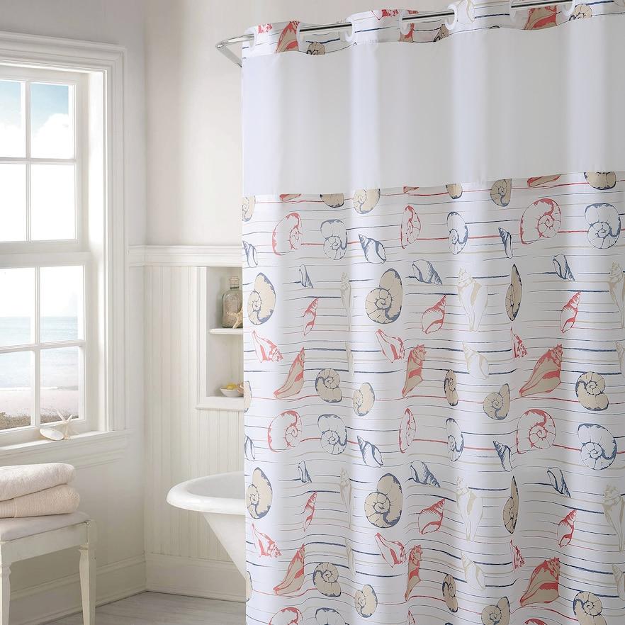 Hookless Seashell Stripe Shower Curtain Peva Liner Shower