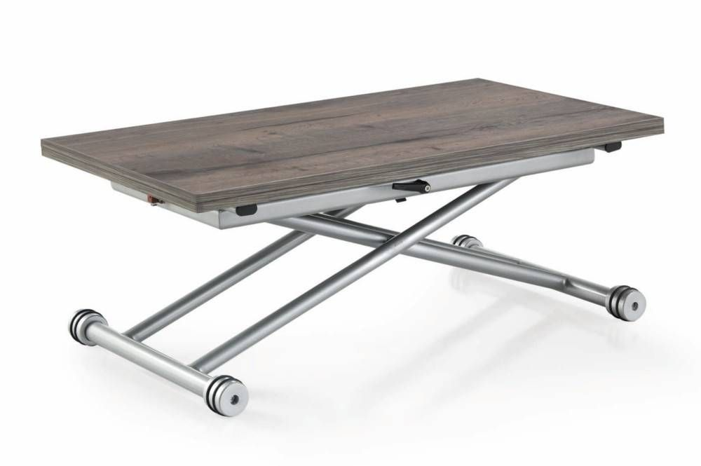 Table Basse Updown Relevable Extensible Chene Gris Vintage Home