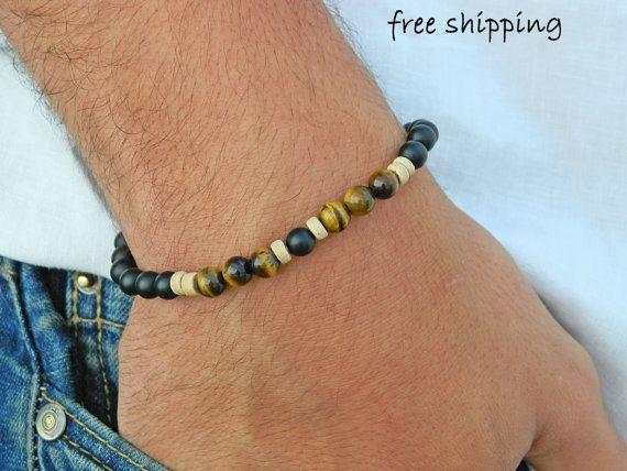 Mens bracelet,Unisex bracelet,Tiger eye bracelet,Onyx bracelet,Stretch bracelet,Gemstone bracelet,Energy bracelet,Yoga bracelet,UN-034