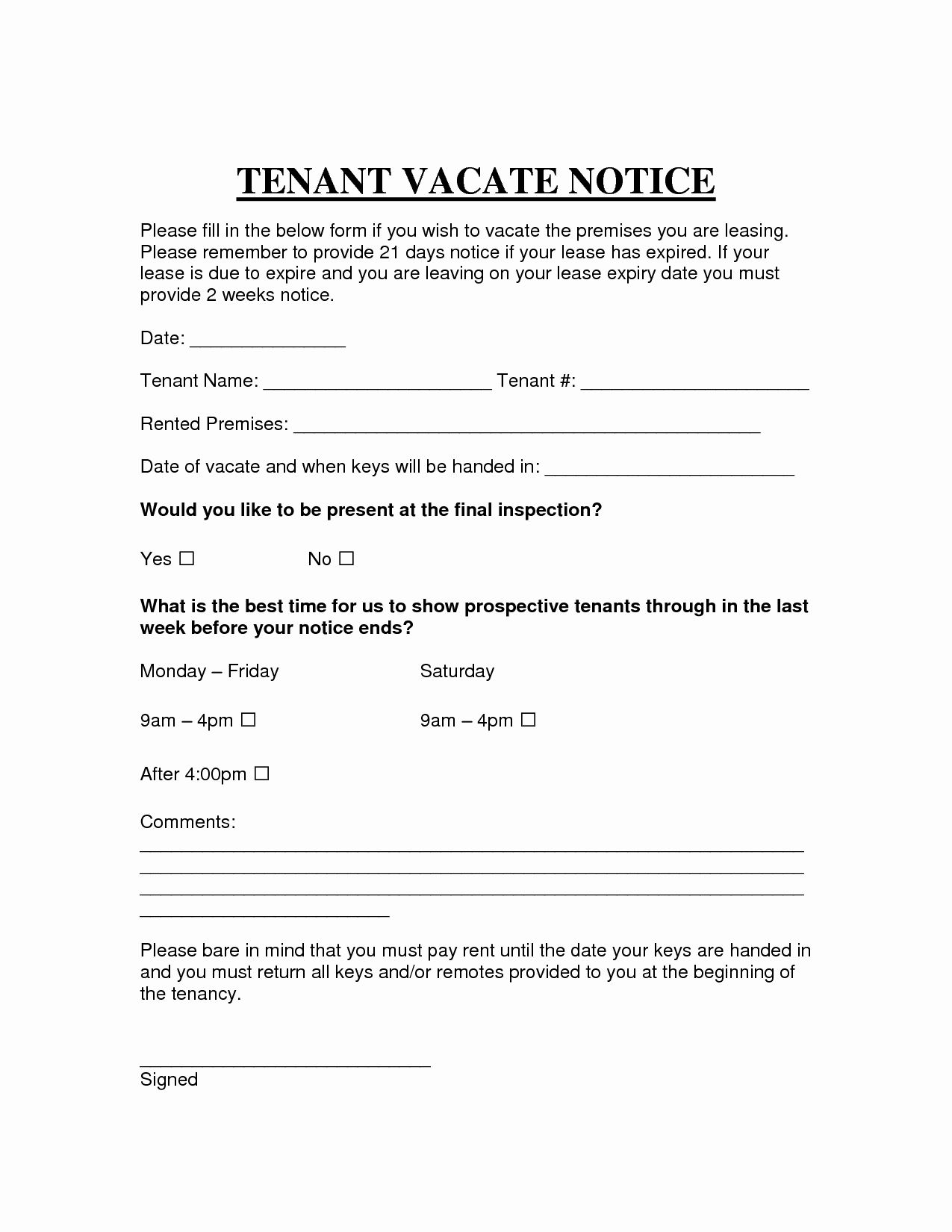 Vacate Letter Template