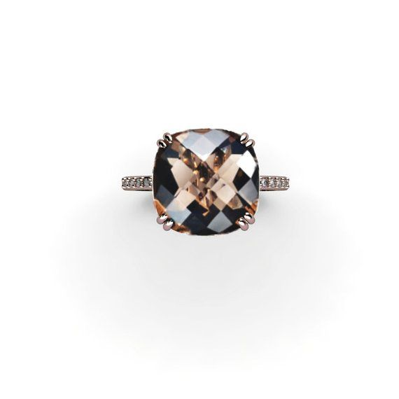 Cushion 14K Rose Gold Engagement Ring Smoky Quartz