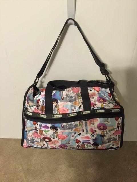 Lesportsac Large Weekender Carry On Travel Gym Bag Art School Print Nwt