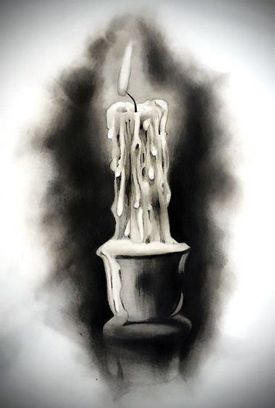 Black and Gray Candle Tattoo Design #candlecolormeanings