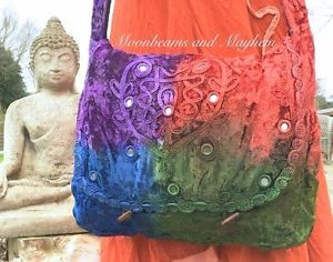 ENCHANTING NEW TIE DYE BOHEMIAN VELVET SHOULDER BAG HIPPIE BOHO GYPSY FESTIVAL | eBay