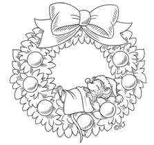 Wreath With Mouse Is Soooo Cute Christmas Coloring Pages Christmas Embroidery Patterns Christmas Colors