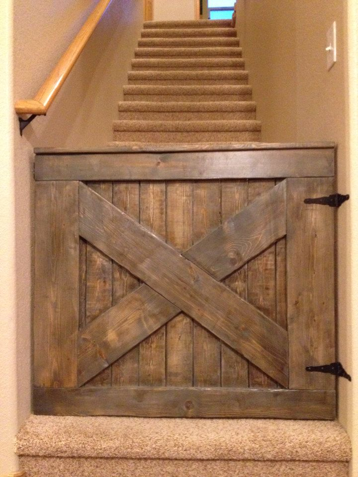 Custom Barn Door Baby/Dog Gate from @The Pink Moose -- I love this handmade wooden baby gate!