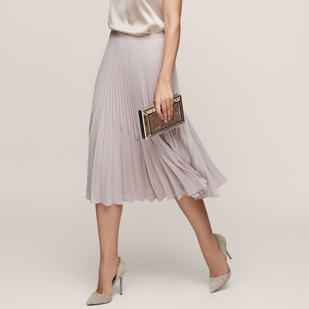 84e6bb87e6 Rosie Steel Knife-Pleat Midi Skirt - REISS | Clothes/Accessories ...