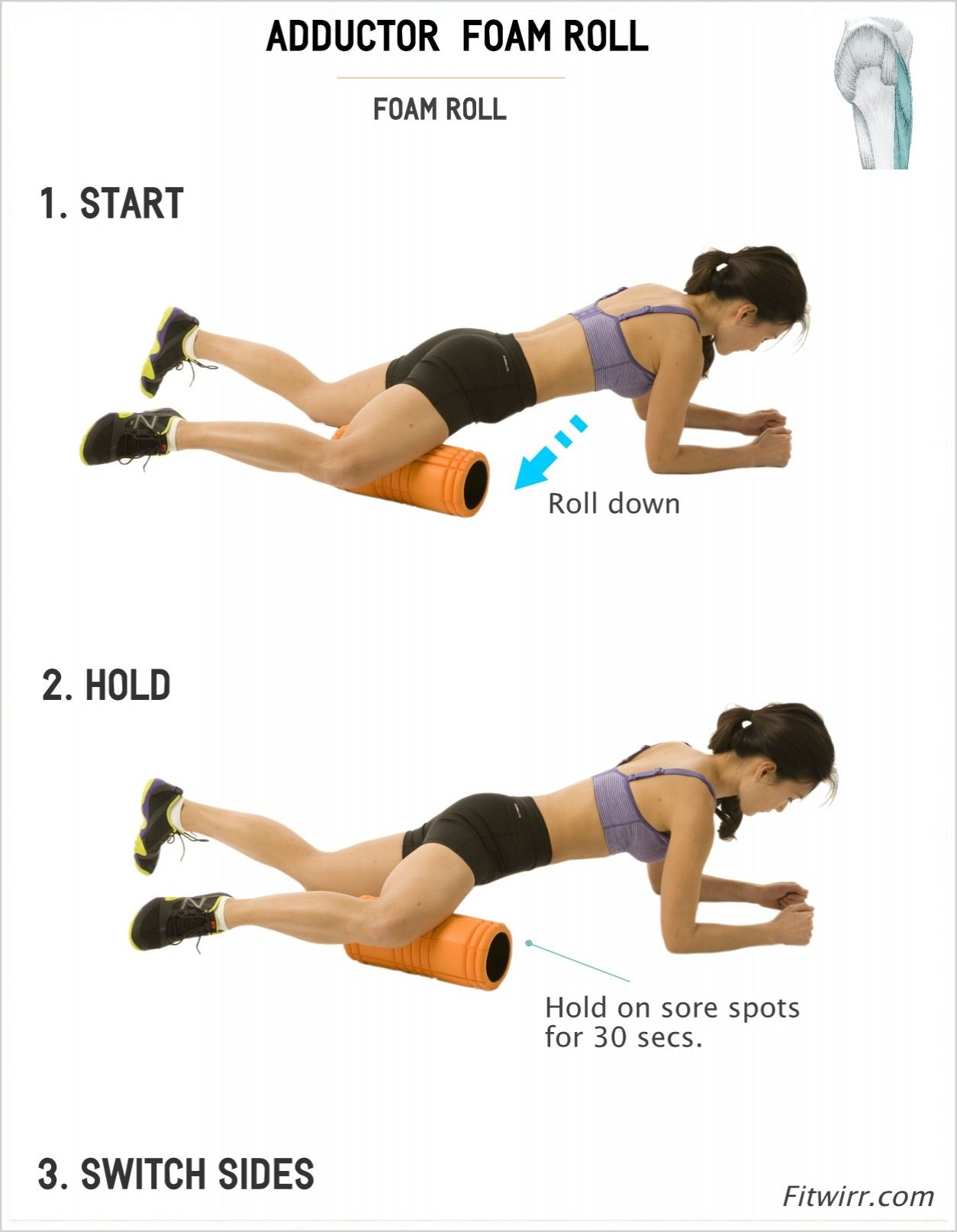 How To Foam Roll Your Adductor Inner Thigh Muscle Soreness