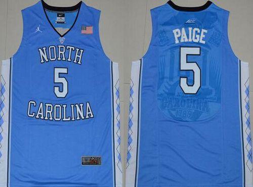 Men's North Carolina Tar Heels #5 Marcus Paige 2016 Light Blue Swingman College Basketball Jersey