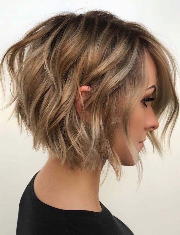 textured angled bob haircuts &