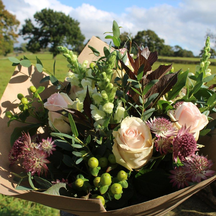 Autumnal, rustic hand tied bouquet in pretty 'blush' shades