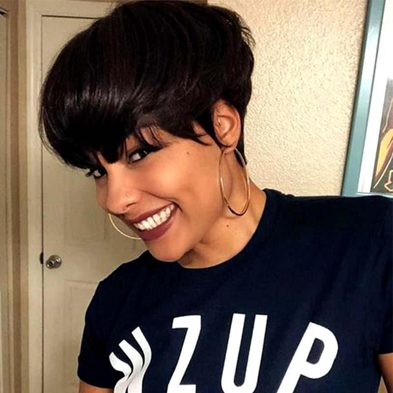 Natural Short Straight Pixie Cut Lace Frontal Wig Human Hair Surprisehair