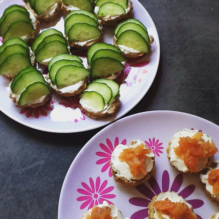 Afternoon tea - open sandwiches (savoury cheeses and spring onion mini scones, with cream cheese)