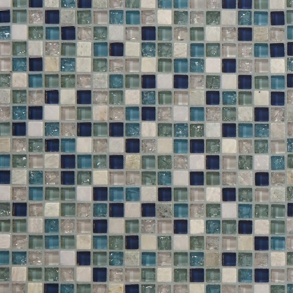 Blue Ocean Mix Ii Glass Mosaic Floor Decor Mosaic Glass Stone Mosaic Stone Mosaic Tile